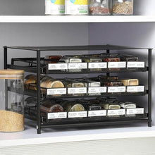 Load image into Gallery viewer, Save nex 3 tier standing spice rack kitchen countertop storage organizer adjustable shelf pull out spice rack slide out cabinet for spice jars glass empty cabinets holds 18 24 30 jars brown 30 jars