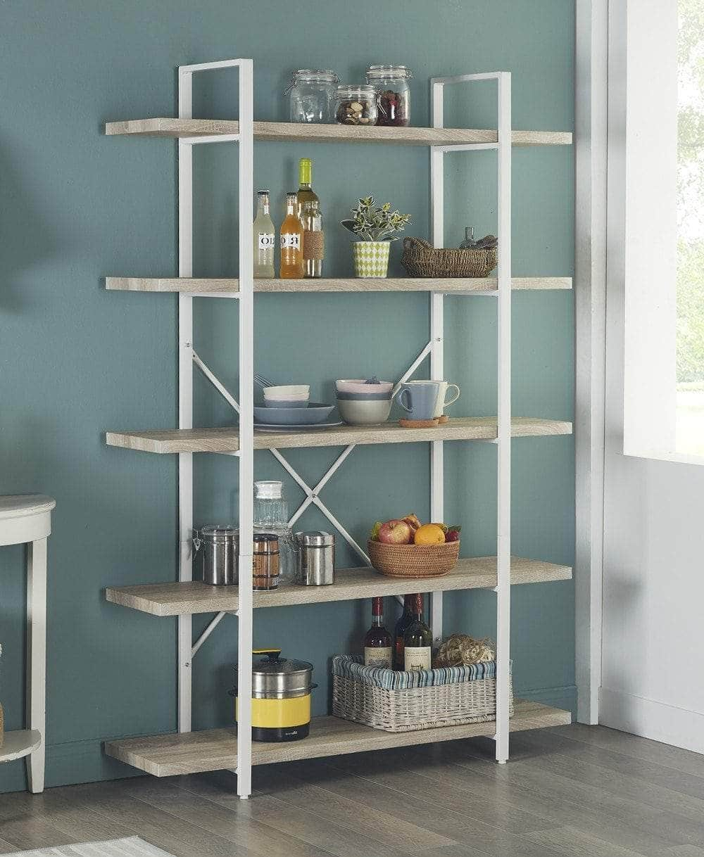 Try homissue 5 shelf modern style bookshelf light oak shelves and white metal frame display storage rack for collection 70 0 inch height