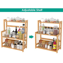 Load image into Gallery viewer, Best seller  homecho bamboo spice rack bottle jars holder countertop storage organizer free standing with 3 tier adjustable slim shelf for kitchen bathroom bedroom hmc ba 004