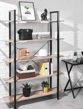 Load image into Gallery viewer, Amazon best oraf bookshelf 5 tier 47lx13wx70h inches bookcase solid 130lbs load capacity industrial bookshelf sturdy bookshelves with steel frame assemble easily storage organizer home office shelf wood grain