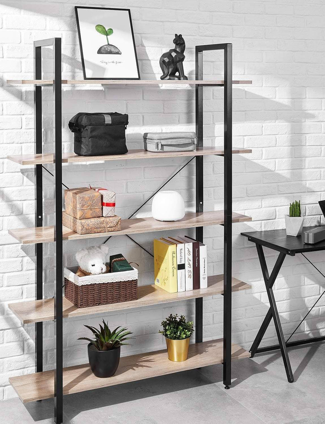 Amazon best oraf bookshelf 5 tier 47lx13wx70h inches bookcase solid 130lbs load capacity industrial bookshelf sturdy bookshelves with steel frame assemble easily storage organizer home office shelf wood grain