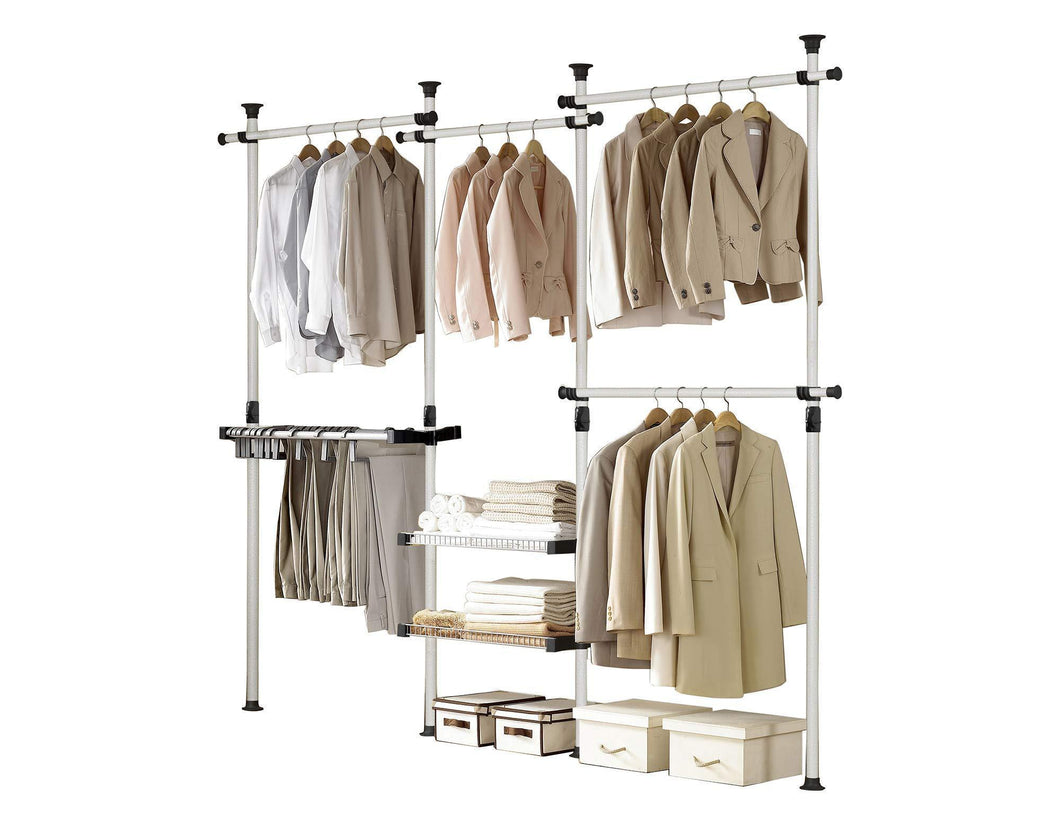 Top rated prince hanger deluxe pants shelf hanger holds 60kg132lb per horizontal bar heavy duty 32mm vertical pole clothing rack clothes organizer pants hanger phus 0052