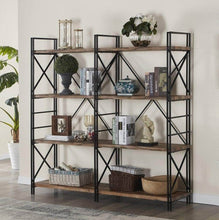 Load image into Gallery viewer, Shop here homissue 4 shelf industrial double bookcase and book shelves storage rack display stand etagere bookshelf with open 8 shelf retro brown 64 2 inch height