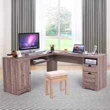 Load image into Gallery viewer, Amazon tangkula 66 66 l shaped desk corner computer desk with drawers and storage shelf home office desk sturdy and space saving writing table grey