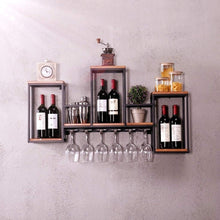Load image into Gallery viewer, Top rated industrial wall mounted loft retro iron metal wine rack shelf wine bottle glass rack bar shelf wood holder 12 wine glass storage unit floating shelves wine glass rack for restaurants daily home
