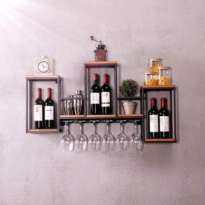 Top rated industrial wall mounted loft retro iron metal wine rack shelf wine bottle glass rack bar shelf wood holder 12 wine glass storage unit floating shelves wine glass rack for restaurants daily home