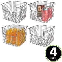 Load image into Gallery viewer, Buy mdesign metal wire open front organizer basket for kitchen pantry cabinet shelf holds canned goods baking supplies boxed food mixes fruits vegetables snacks 10 wide 4 pack graphite gray