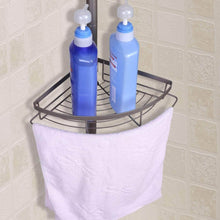 Load image into Gallery viewer, New mythinglogic corner shower caddy adjustable height shower tension rod with wire basket 3 tier stainless steel shower shelf rack bathroom shower organizer for shampoo conditioner soap and towel
