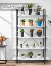 Load image into Gallery viewer, Discover oraf bookshelf 5 tier 47lx13wx70h inches bookcase solid 130lbs load capacity industrial bookshelf sturdy bookshelves with steel frame assemble easily storage organizer home office shelf modern white