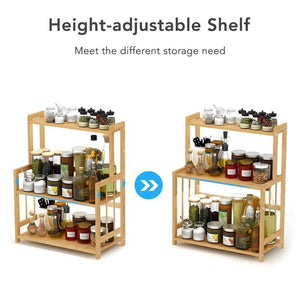 Home 3 tier standing spice rack little tree kitchen bathroom countertop storage organizer bamboo spice bottle jars rack holder with adjustable shelf bamboo