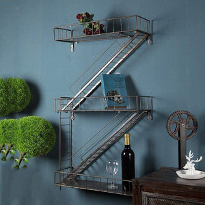 Great qianda wall shelves storage display floating shelf z shape bookshelf iron bar black bookrack coffee shop 3 tiers bookcase commodity shelf flower shelf industrial style
