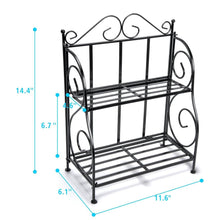 Load image into Gallery viewer, Storage organizer f color bathroom countertop organizer 2 tier collapsible kitchen counter spice rack jars bottle shelf organizer rack black