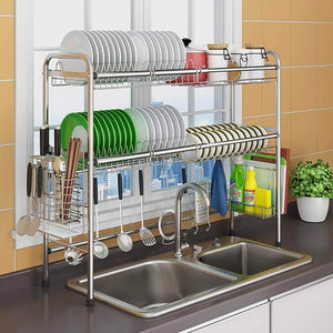 Home mago retractable 304 stainless steel dish rack drain rack sink universal pool frame kitchen shelf multi function kitchen storage size 100cm x 28cm x 82cm