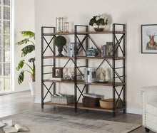 Load image into Gallery viewer, Top rated homissue 4 shelf industrial double bookcase and book shelves storage rack display stand etagere bookshelf with open 8 shelf retro brown 64 2 inch height