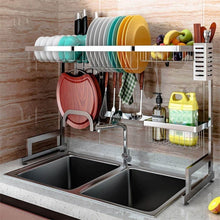 Load image into Gallery viewer, New over the sink dish drying rack dish drainer for kitchen sink stainless steel over the sink shelf storage rack sink length 32 5 inch