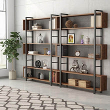 Load image into Gallery viewer, Top rated tribesigns 5 shelf bookshelf with metal wire vintage industrial bookcase display shelf storage organizer with metal frame for home office 47 2 l x 9 4 d x 71 h retro brown
