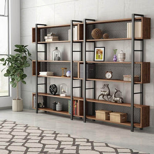 Top rated tribesigns 5 shelf bookshelf with metal wire vintage industrial bookcase display shelf storage organizer with metal frame for home office 47 2 l x 9 4 d x 71 h retro brown