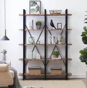 Heavy duty o k furniture double wide 5 tier open bookcases furniture vintage industrial etagere bookshelf large book shelves for home office decor display retro brown