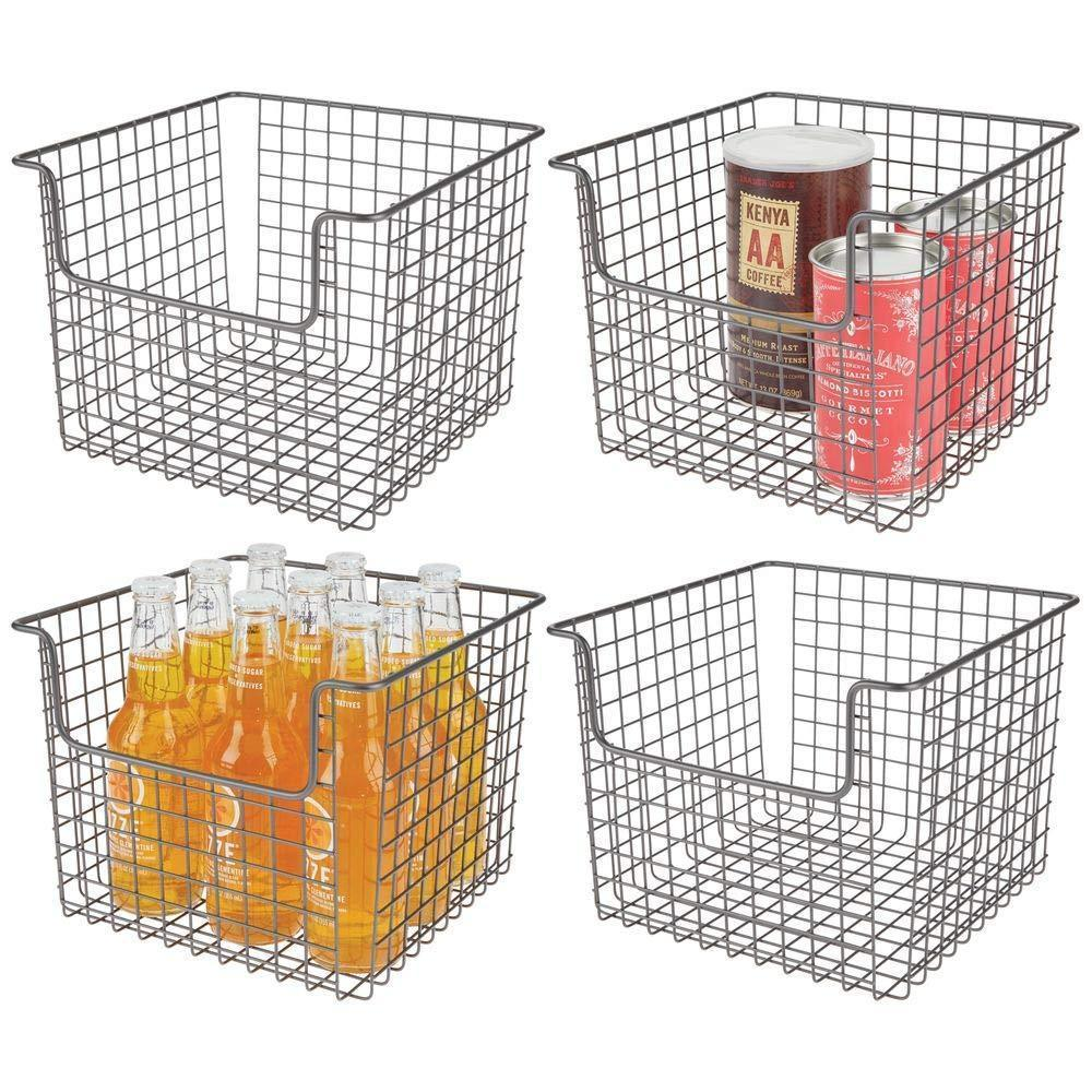 Amazon best mdesign metal wire open front organizer basket for kitchen pantry cabinet shelf holds canned goods baking supplies boxed food mixes fruits vegetables snacks 10 wide 4 pack graphite gray