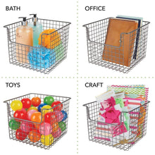 Load image into Gallery viewer, Budget mdesign metal wire open front organizer basket for kitchen pantry cabinet shelf holds canned goods baking supplies boxed food mixes fruits vegetables snacks 10 wide 4 pack graphite gray