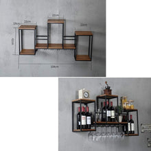 Load image into Gallery viewer, Amazon industrial wall mounted loft retro iron metal wine rack shelf wine bottle glass rack bar shelf wood holder 12 wine glass storage unit floating shelves wine glass rack for restaurants daily home