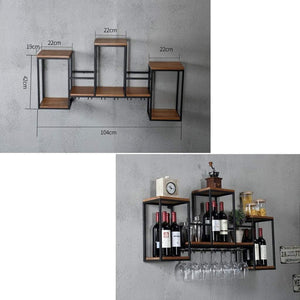 Amazon industrial wall mounted loft retro iron metal wine rack shelf wine bottle glass rack bar shelf wood holder 12 wine glass storage unit floating shelves wine glass rack for restaurants daily home