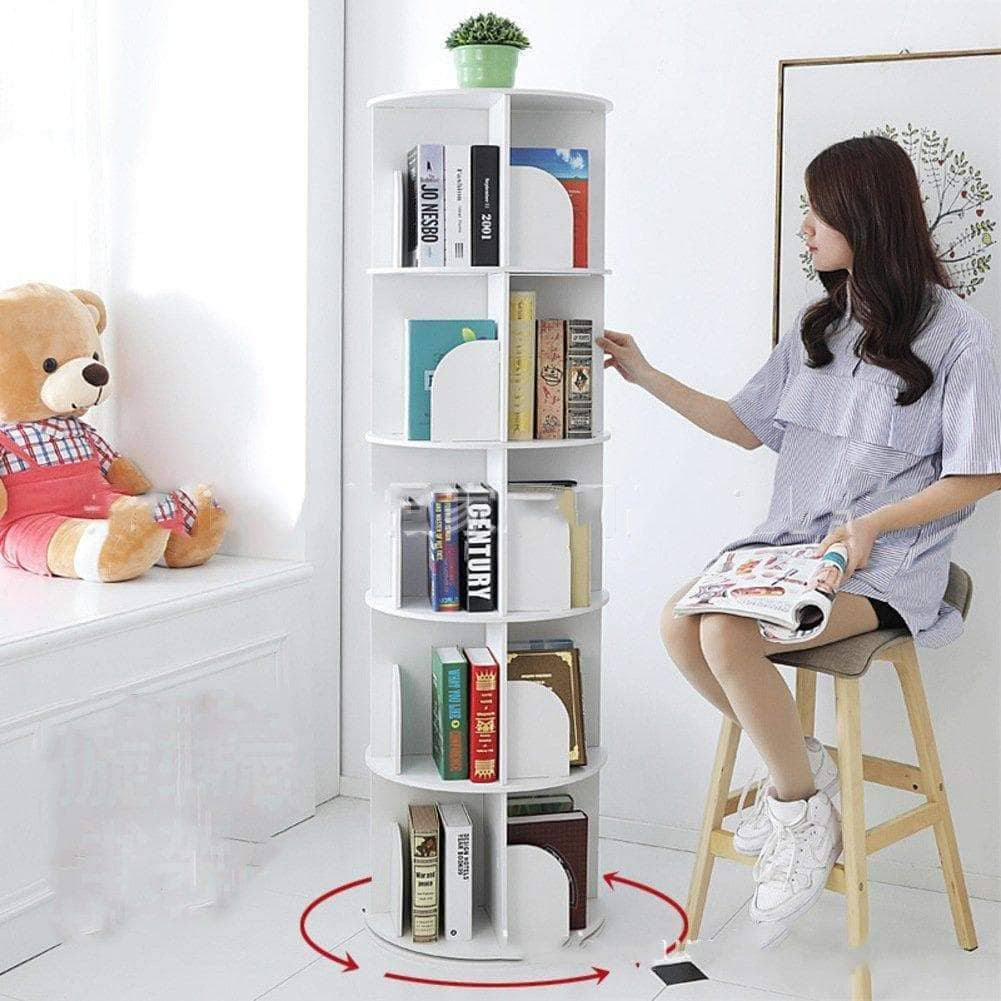 Discover jx boos bookshelf creative 360 rotating bookcase simple disassembly bookshelves simple student landing rack white 46x46x158cm18x18x62