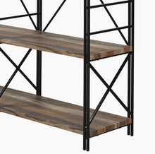 Load image into Gallery viewer, The best homissue 4 shelf industrial double bookcase and book shelves storage rack display stand etagere bookshelf with open 8 shelf retro brown 64 2 inch height