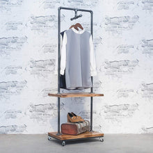 Load image into Gallery viewer, On amazon industrial pipe clothing rack with wood shelves steampunk iron garment rack on wheels vintage rolling cloths racks for hanging clothes commercial grade clothes racks retail display clothing shelf