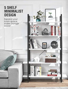 Discover the best oraf bookshelf 5 tier 47lx13wx70h inches bookcase solid 130lbs load capacity industrial bookshelf sturdy bookshelves with steel frame assemble easily storage organizer home office shelf modern white