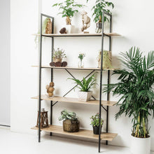 Load image into Gallery viewer, Results c hopetree open bookcase bookshelf large storage ladder shelf vintage industrial plant display stand rack home office furniture black metal frame 4 tier open