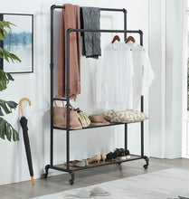Load image into Gallery viewer, Budget friendly homissue 72 inch industrial pipe double rail hall tree with shoe storage on wheel 2 shelf rolling clothes rack organizer with 2 hanging rod for garment storage display vintage brown