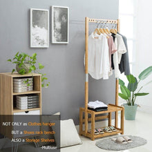 Load image into Gallery viewer, Buy now nnewvante coat rack bench hall trees shoes rack entryway 3 in 1 shelf organizer shelf environmental bamboo furniture bamboo 29 5x13 8x70in