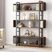 Load image into Gallery viewer, Storage tribesigns 5 shelf bookshelf with metal wire vintage industrial bookcase display shelf storage organizer with metal frame for home office 47 2 l x 9 4 d x 71 h retro brown