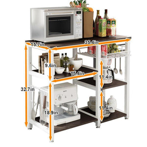 Great mixcept multi purpose 3 tier kitchen bakers rack utility microwave oven stand storage cart workstation shelf w5s bk mi black