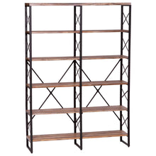 Load image into Gallery viewer, Featured ironck bookshelf double wide 6 tier 70 h open bookcase vintage industrial style shelves wood and metal bookshelves home office furniture