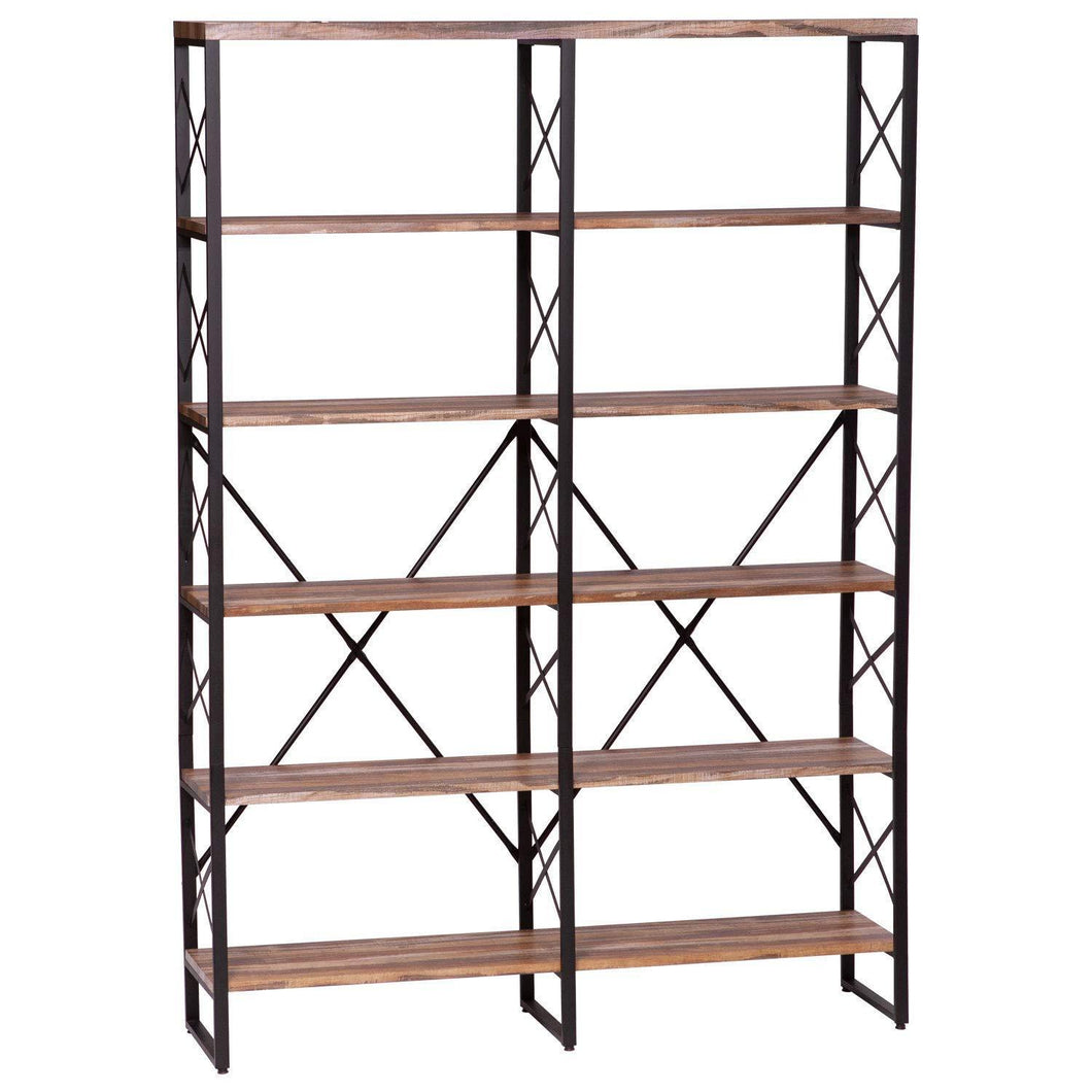 Featured ironck bookshelf double wide 6 tier 70 h open bookcase vintage industrial style shelves wood and metal bookshelves home office furniture