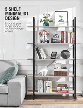 Load image into Gallery viewer, Buy now oraf bookshelf 5 tier 47lx13wx70h inches bookcase solid 130lbs load capacity industrial bookshelf sturdy bookshelves with steel frame assemble easily storage organizer home office shelf wood grain