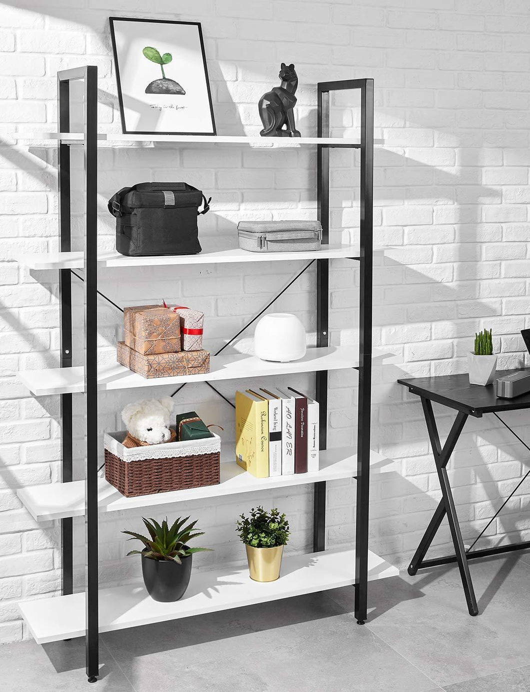 Budget friendly oraf bookshelf 5 tier 47lx13wx70h inches bookcase solid 130lbs load capacity industrial bookshelf sturdy bookshelves with steel frame assemble easily storage organizer home office shelf modern white