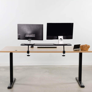 Order now vivo black clamp on large 40 inch ergonomic desk shelf dual computer monitor and laptop riser stand desk organizer for 2 screens stand shelf40b