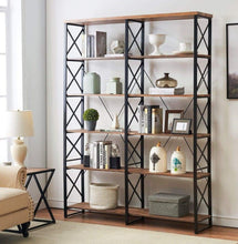 Load image into Gallery viewer, Order now o k furniture 80 7 double wide 6 shelf bookcase industrial large open metal bookcases furniture etagere bookshelf for home office vintage brown