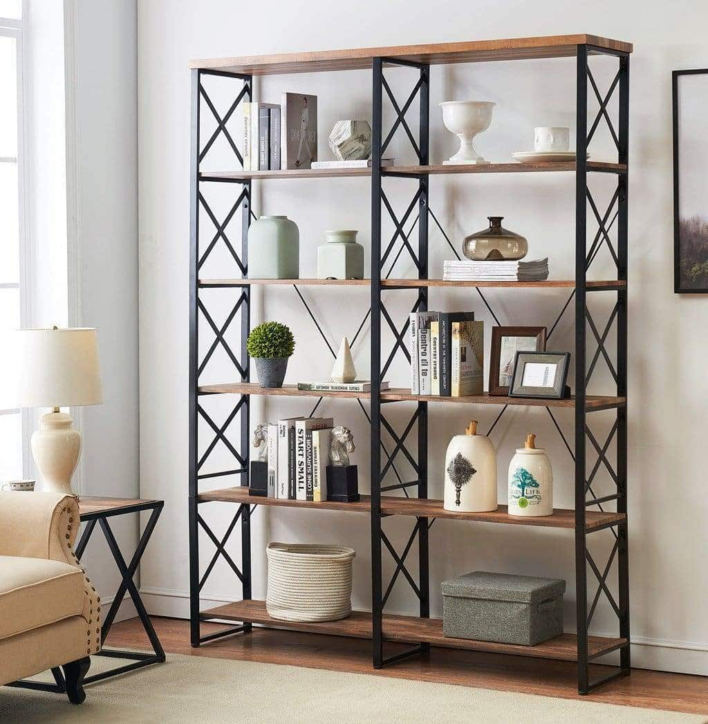 Order now o k furniture 80 7 double wide 6 shelf bookcase industrial large open metal bookcases furniture etagere bookshelf for home office vintage brown