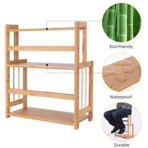 Best homecho bamboo spice rack bottle jars holder countertop storage organizer free standing with 3 tier adjustable slim shelf for kitchen bathroom bedroom hmc ba 004