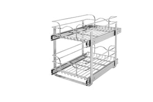 Storage organizer rev a shelf 5wb2 1522 cr 15 in w x 22 in d base cabinet pull out chrome 2 tier wire basket
