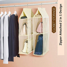 Load image into Gallery viewer, Purchase zaro 2 in 1 hanging shelf garment organizer for bags clothes 4 shelves practical closet purse storage collapsible space saver accessory breathable mesh net with hooks hanger easy mount gray
