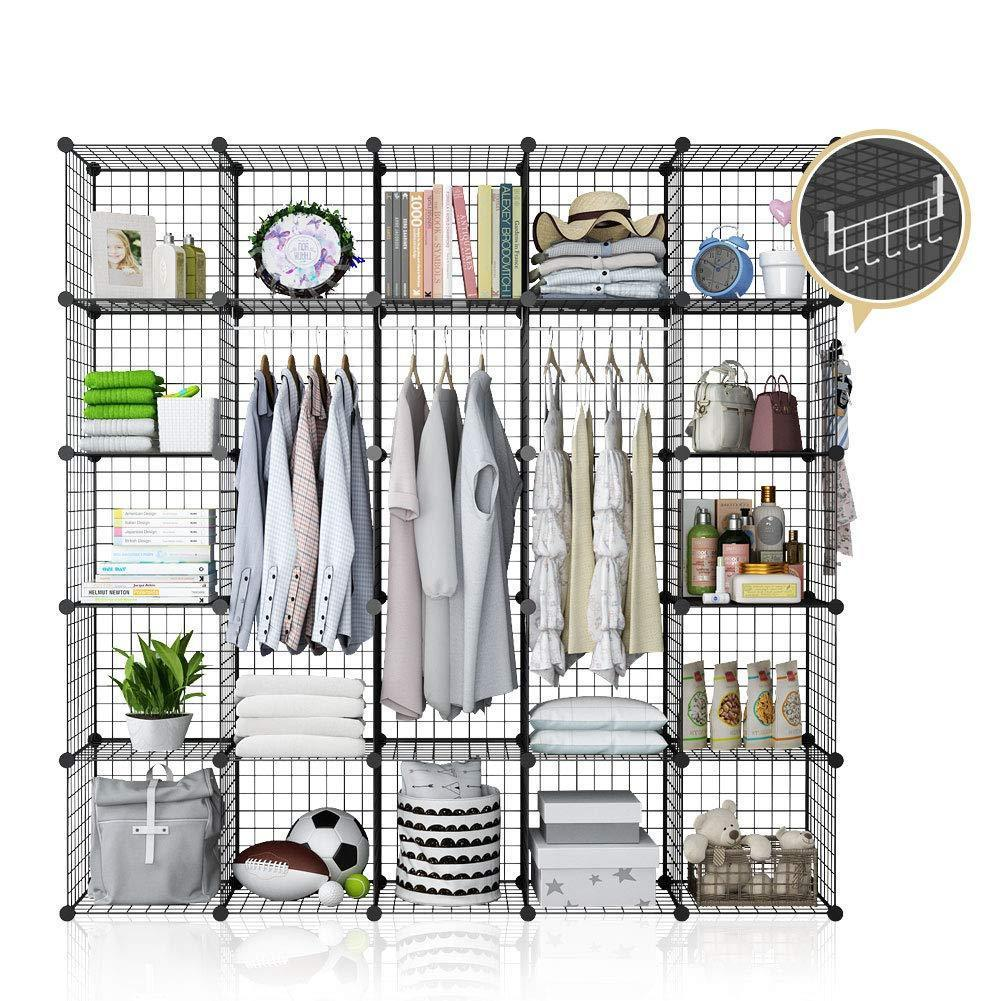 Save yozo modular wire cube storage wardrobe closet organizer metal rack book shelf multifuncation shelving unit 25 cubes depth 14 inches black