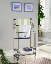Load image into Gallery viewer, Discover the kings brand furniture 1419 metal free towel rack stand with shelf pewter