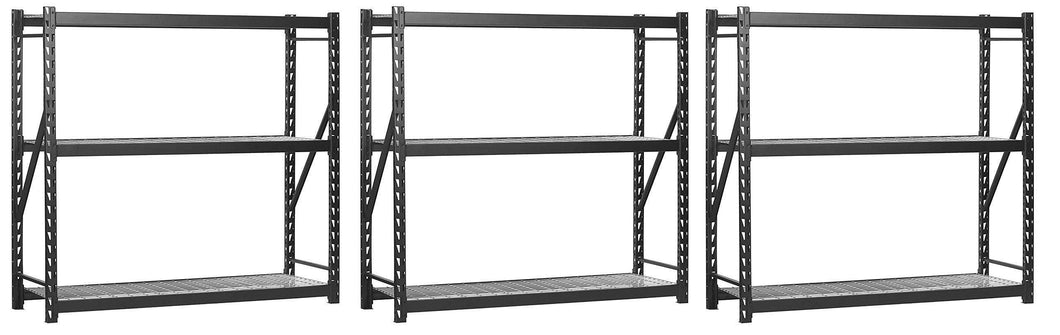 Get muscle rack erz772472wl3 black heavy duty steel welded storage rack 3 shelves 1 000 lb capacity per shelf 72 height x 77 width x 24 depth pack of 3
