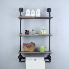 Load image into Gallery viewer, Selection industrial bathroom shelves wall mounted with 2 towel bar 24in rustic pipe shelving 3 tiered wood shelf black farmhouse towel rack metal floating shelves towel holder iron distressed shelf over toilet