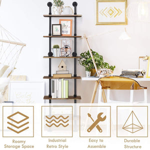 Shop here giantex 6 tier industrial pipe shelves with wood rustic wall shelves vintage pipe wall shelf for bedrooms kitchens coffee shops or bar storage pickles wood grain